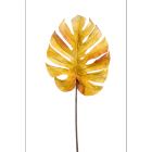 Monstera leaf velvet ocher 75cm