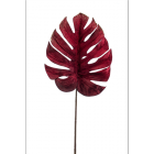 Monstera leaf velvet burgundy 75cm
